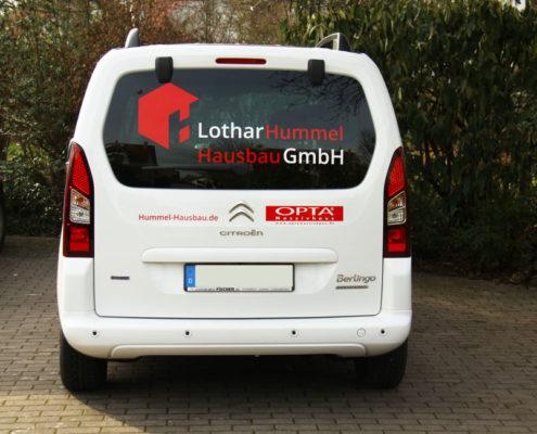 Fahrzeugbeschriftung Citroen Berlingo Hummel Hausbau