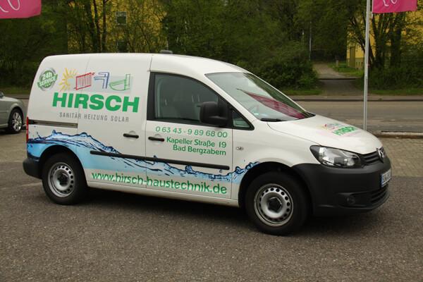 Fahrzeugbeschriftung VW Caddy Hirsch Haustechnik