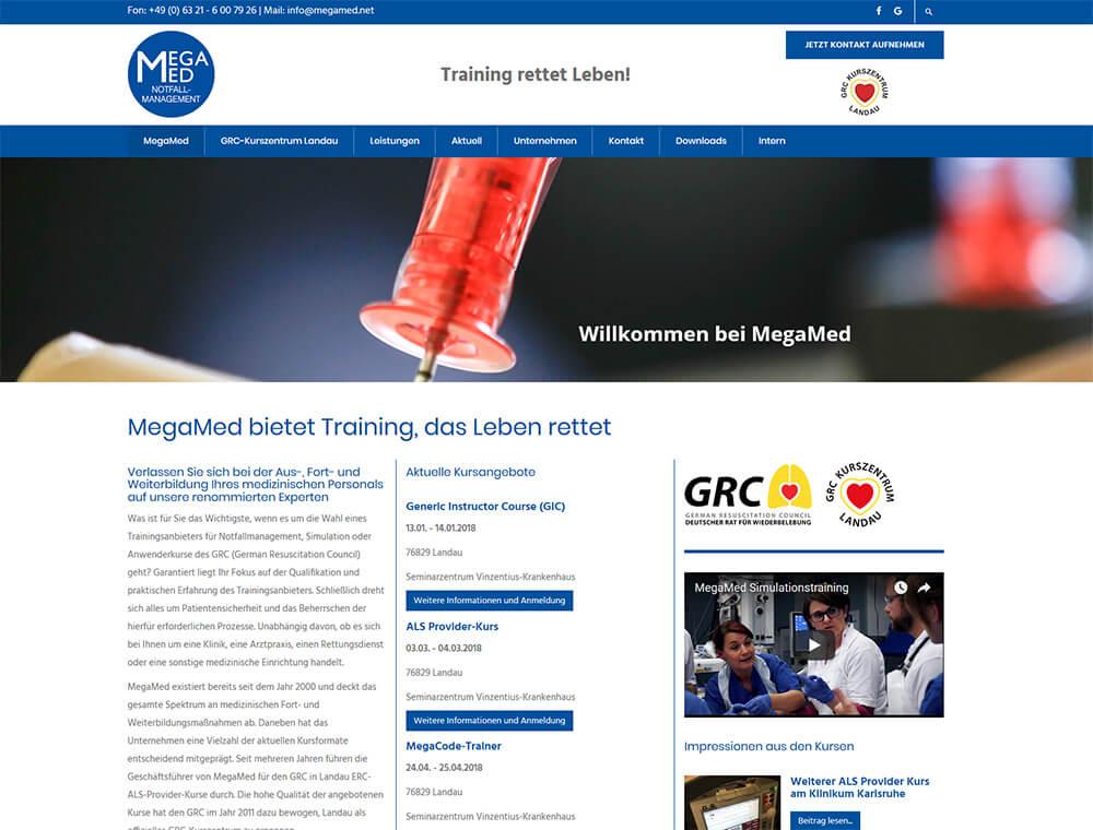 Website MegaMed Notfallmanagement