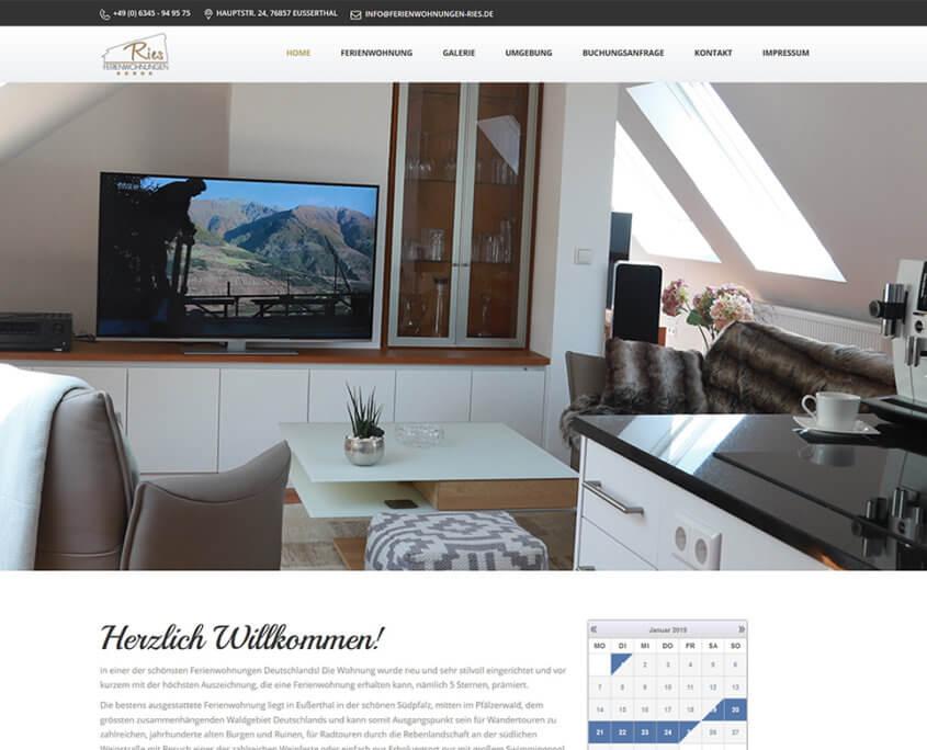 Website Ferienwohnungen Ries