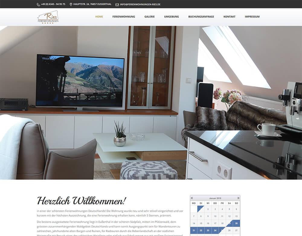 Website von Ferienwohnungen Ries online
