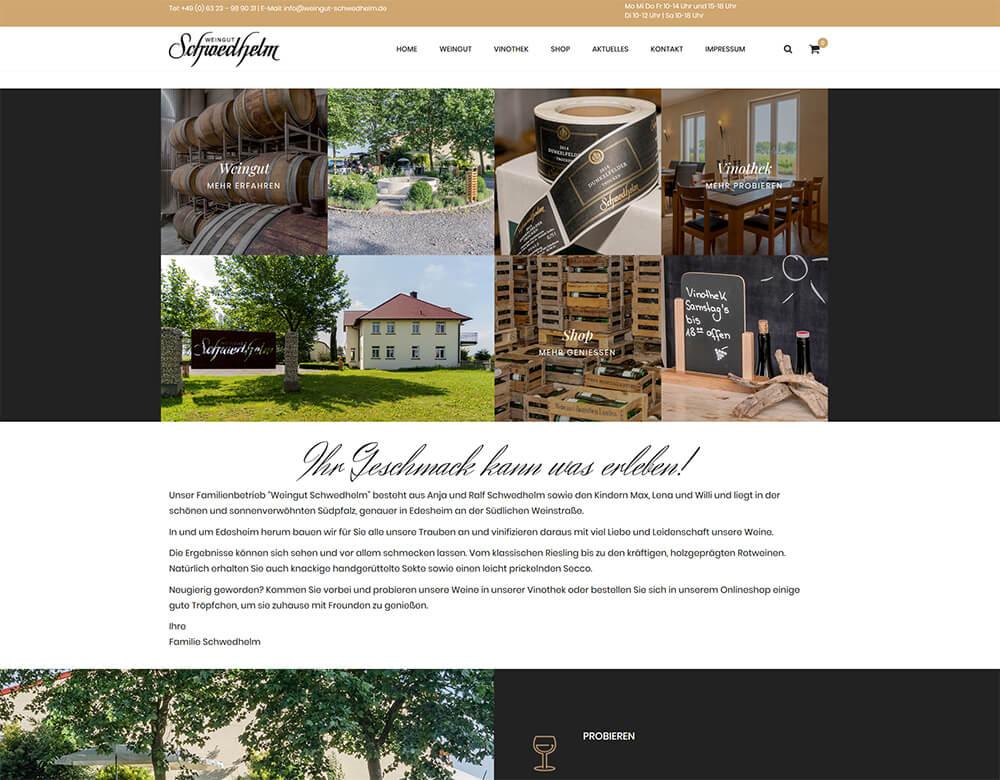 Website des Weingut Schwedhelm online