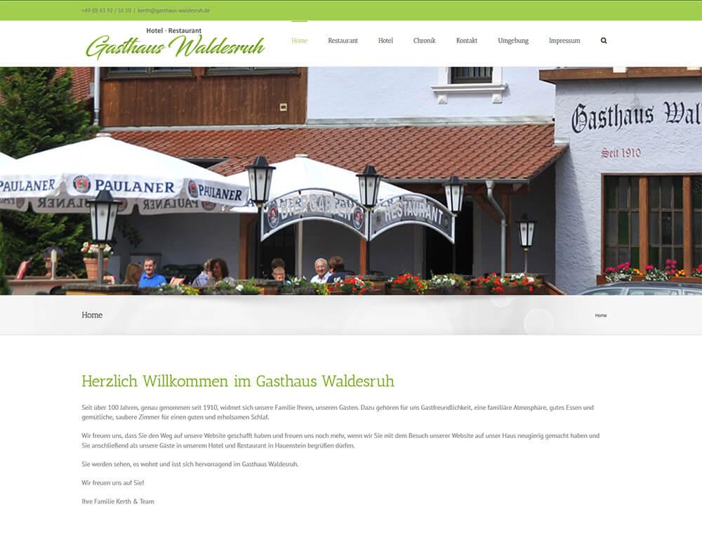 Neue Website des Gasthaus Waldesruh online